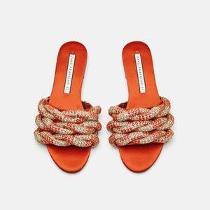NWT Zara Size 6 Orange Rhinestone Slides